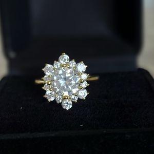 18K Gold-Plated Diamond Ring